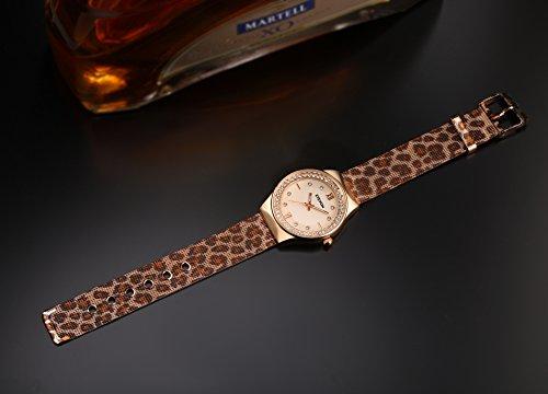 ETEVON Women's Quartz Leopard Mesh Rhinestone Watch with Crystal Rose Gold Case Stainless Steel Waterproof, Unique Fashion Watches for Women Ladies
