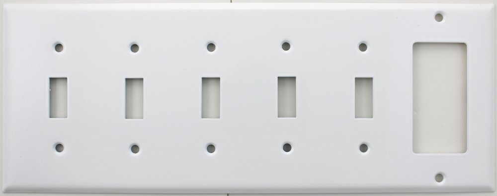 Stamped Steel Smooth White 6 Gang Wall Plate - 5 Toggle Switches 1 GFI/Rocker Opening