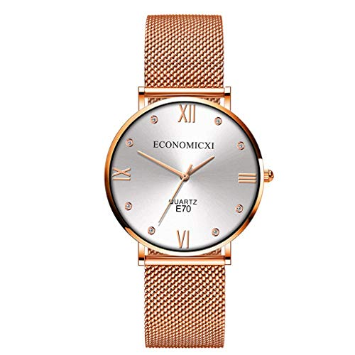 Womens Watch Fashion Waterproof Stainless Steel Crystal Bracelet Analog Quartz Wrist Watches for Lady (White, Free size)