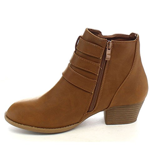 Top Moda Frauen Side Zip High Block Heel Ankle Booties Neue Tan