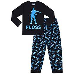 cacbfedd6 Youth Fortnite Pajamas for Girls. Unisex Floss Dance Gaming Black Blue Long  Pajamas (7-8)