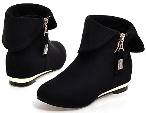 Women's Stylish Velvet Round Toe Side Zipper Short Boots Stiletto High Heel Platform Ankle Booties with Belt