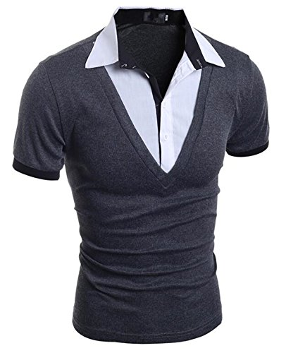 Carolyn Jones Mens Polo Shirt Brands New Male Short Sleeve Fashion Casual Slim Fake Two Button Polos Poru Sh - Fake Polo Brand