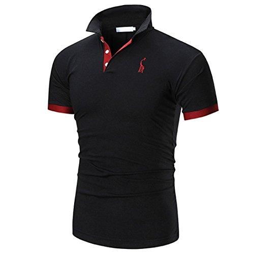 Summer Men Short Sleeve ☀Kstare Men's Classic Solid Soft Stretch Short Sleeves Polo T-Shirt (Black, - Oxford Placket Shirt