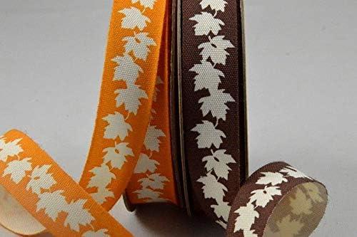 Rollo de 10 m de cinta de algodón con diseño de hojas de otoño de 15 mm, naranja, 15 mm: Amazon.es: Hogar