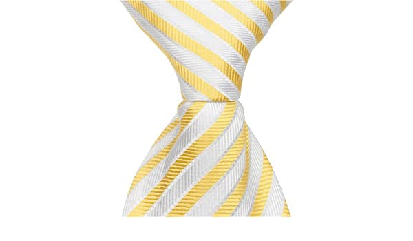 2c5bac7067d1 Amazon.com: Matching Tie Guy 2734 Y3 - 15.25 in. Zipper Necktie - Yellow  With White Stripes, 8-11: Clothing
