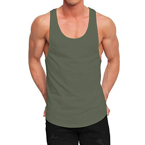 (OA ONRUSH AESTHETICS Men's Fashion Longline Tank Tops Extreme Racer Back Curved Hem Vest Green L)