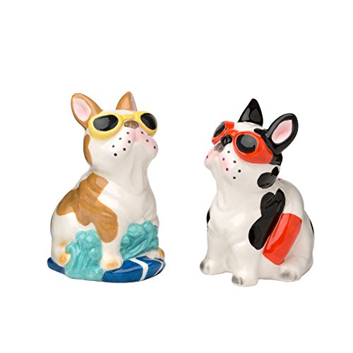 Amici Home 7CN562R Frenchie's Ceramic Salt and Pepper Shakers, Textured Multicolor Design, Decorative Tableware, 3 Ounce Capacity Each by Amici Home