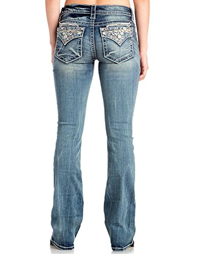 Miss Me Stay Fly Floral Angel Wings Medium Wash Boot Cut Jeans M3146B (28) by Miss Me