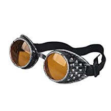 Careonline Vintage STEAMPUNK GOGGLES Glasses Punk Goth Colorful Lens COSPLAY