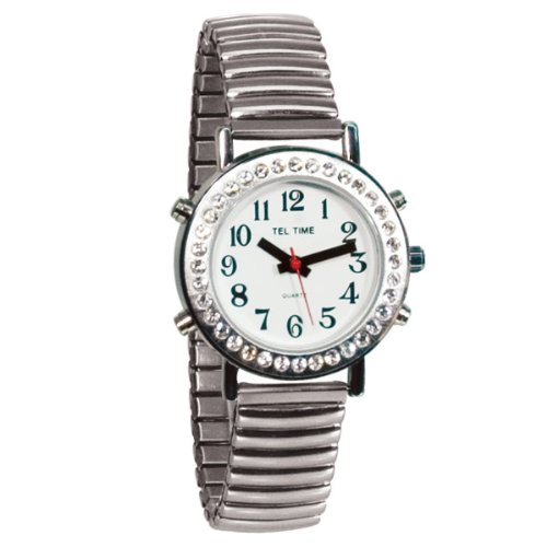 Ladies Talking Watch with Rhinestone Bezel and Expansion Band -Spanish by Tel-Time
