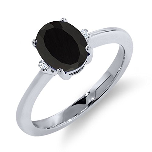 1.11 Ct Oval Black Onyx White Sapphire 925 Sterling Silver Ring