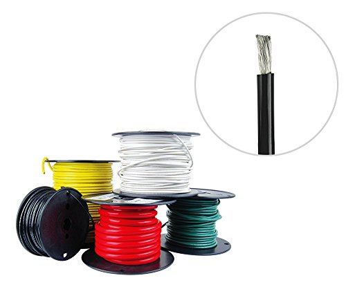8 Awg Primary Wire (8 AWG Marine Wire - Tinned Copper Primary/Battery Boat Cable- 25 Feet - Black - Made in the USA)