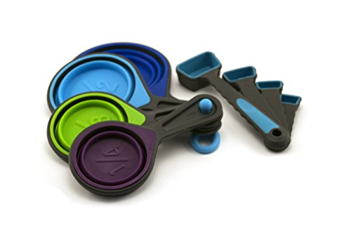 Collapsible Measuring Cups and Measuring Spoons - Portable Food Grade Silicone for Liquid & Dry Measuring (Spoon Cup Measuring 1)