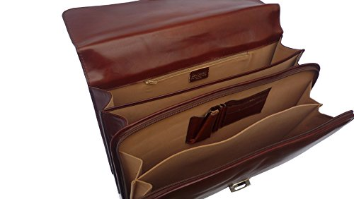 Serviette Cartable en cuir 2 soufflets - Coloris caramel