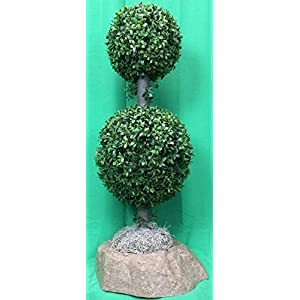 "Artificial UV Rated Outdoor 34"" 2 Ball Boxwood Topiary Tree Bundled with Sm Rock Planter Cover, by Silk Tree Warehouse 105"