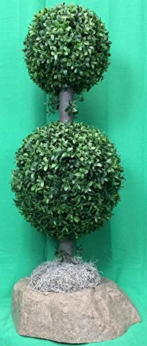 Artificial-UV-Rated-Outdoor-34-2-Ball-Boxwood-Topiary-Tree-Bundled-with-Sm-Rock-Planter-Cover-by-Silk-Tree-Warehouse