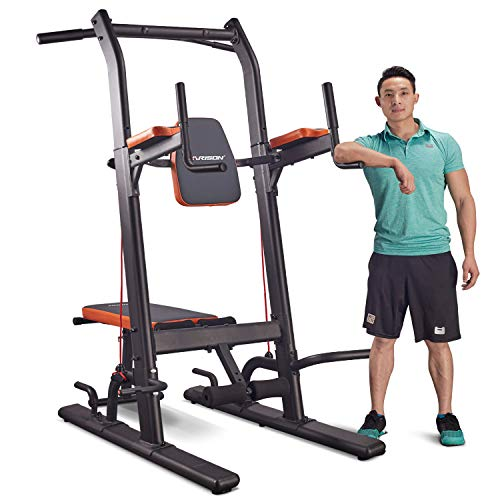 HARISON Multifunction Power Tower Dip Station with Bench Adjustable Height for Home Gym Strength Training, Pull Up Push Up Station, Sit Up Station, Vertical Knee Raise and Chin-up Station 408