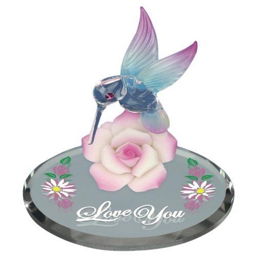 Glass Baron Hummingbird with Pink Flower