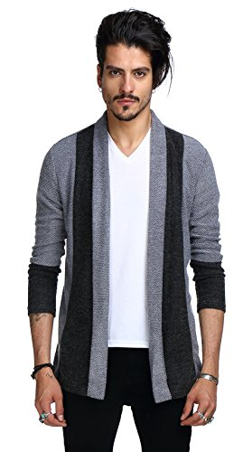 Whatlees Mens Hipster Contrast Longline Cardigans Coats B201-Grey-S