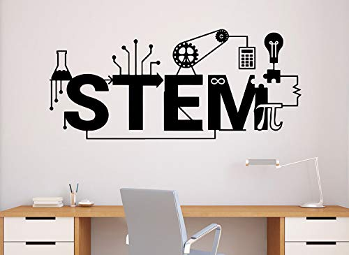 (Stem Wall Decal Science Vinyl Sticker Science Technology Engineering Mathematics Decor Classroom Interior (64n))