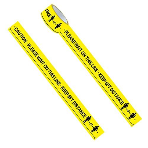 WAHSBAG Floor Tape,1Roll Wacht Op Deze Lijn Houd 6FT Afstand Vloer Markering Tape Geel