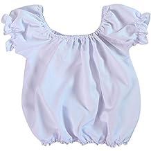 Making Believe Girls Short Sleeve Peasant Blouse, White (Choose Size)