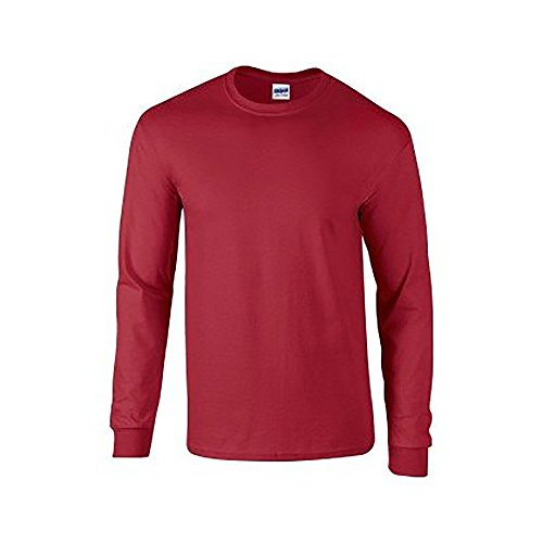 Gildan Mens Plain Crew Neck Ultra Cotton Long Sleeve T-Shirt (XL) (Cardinal)