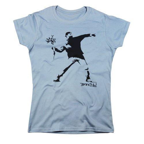 Nutees Women's Banksy Flower Thrower Street Art T Shirt Light Blue XLarge
