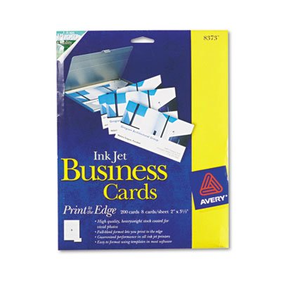 - Print-to-the-Edge 2-Sided Business Cards, Inkjet, 2 x 3-1/2, Wht, Glossy, 200/Bx