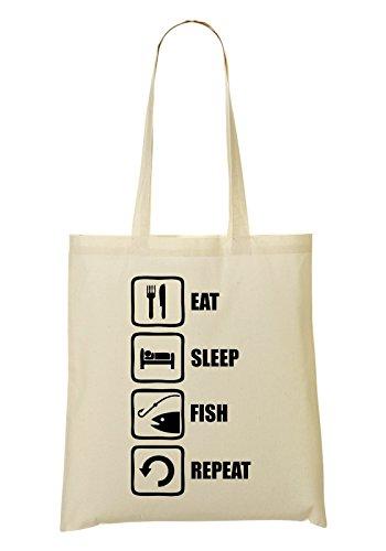 tout Sac Funny Sac Eat Fish à Graphic Sleep Repeat provisions Fish Fourre rtYzt48wqx
