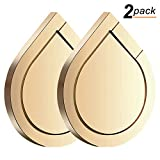 Phone Ring Holder - 2PCS Full-metal 360° Rotation Phone Grip Kickstand Work on Magnetic Car Holder Universal Finger Ring Stand for iPhone 8 7 7 Plus 6S 6 5 5S - Samsung Galaxy and iPads (Gold)