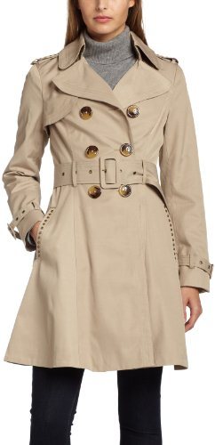 Miss Sixty Women's Double Breasted Studded Trench,Khaki,X-Small
