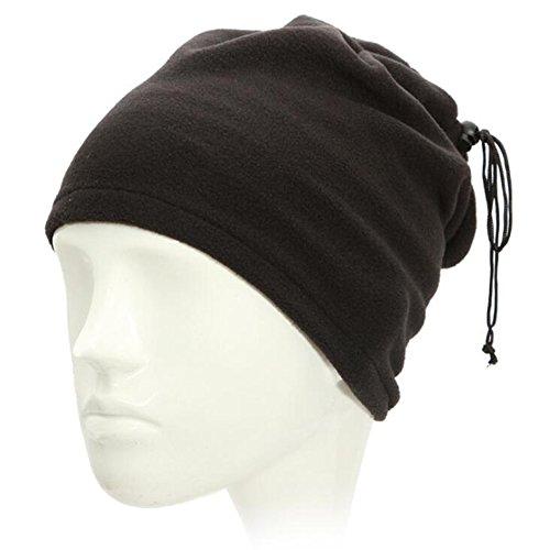 Ezyoutdoor Unisex Ultimate Thermal Retention Multipurpose Fleece Neck Warmer Scarf Adjustable Beanie Hat Sport Neck Warmers Snood Scarf Hat (Black)