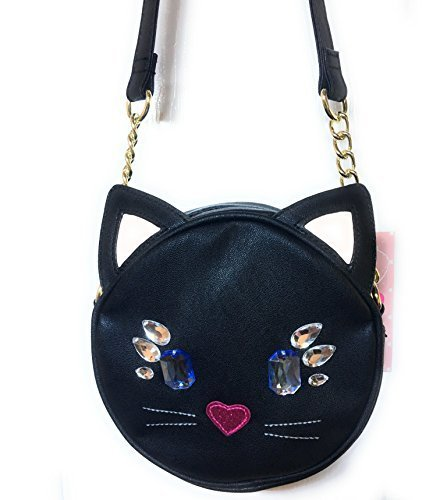 (LUV Betsey Cross Body Jeweled Cat Face Handbag, Black)