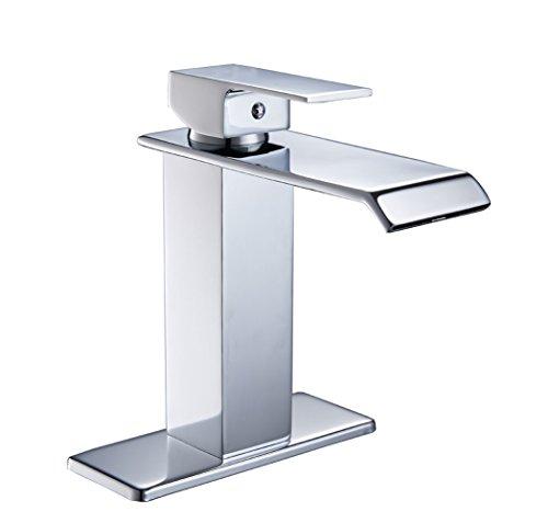 Bathlavish Bathroom Sink Faucet Waterfall Chrome Single Handle Lavatory One Hole Vanity Mount Commercial Supply Hose Lead-Free