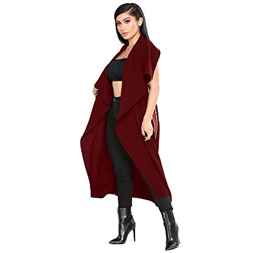 YKA 2018 Women's Fashion Casual Open Front Cape Sleeveless Solid Trench Duster Coat Longline Blazer by YKA (Image #2)