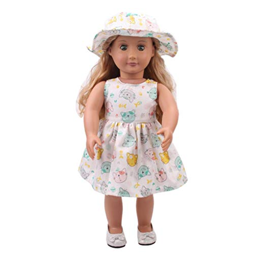 Sinfu 18 inch Our Generation American Girl Doll Hat Skirt Summer Outfits (18 inch, - American High Girl Monster