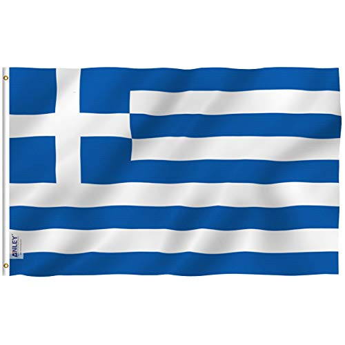 Anley Fly Breeze 3x5 Foot Greece Flag - Vivid Color and UV Fade Resistant - Canvas Header and Double Stitched - Greek National Flags Polyester with Brass Grommets 3 X 5 Ft (Bacardi Flag)