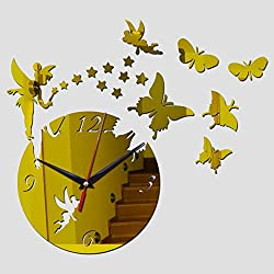 SIEMOO 3D DIY Wall Clock Stickers Butterfly Fairy Modern Acrylic Mirror Surface Wall Decor Stickers for Home Living Room Bedroom Office Wall Decoration (Gold)