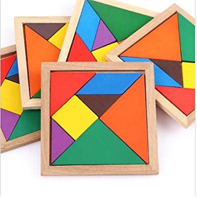 Buy Pack Of 12 Wooden Mind Exercise Tangram Puzzle