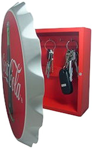 7601-27 Key Box, Wood, Contour Bottle Crown, Multi