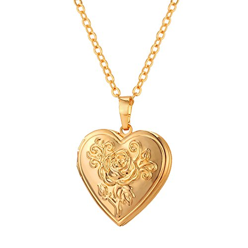 U7 Heart Shaped Photo Locket Pendant Women Fashion Jewelry 18K Gold Plated Necklace