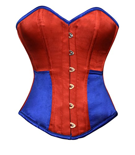CorsetsNmore Red Blue Satin Fantasy Costume Goth Burlesque Waist Training Overbust Corset Top
