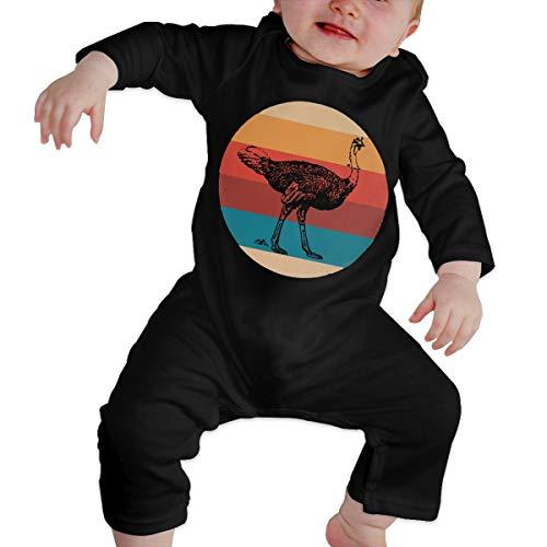 UGFGF-S3 Ostrich Retro Newborn Kids Long Sleeve Bodysuit Organic Coverall