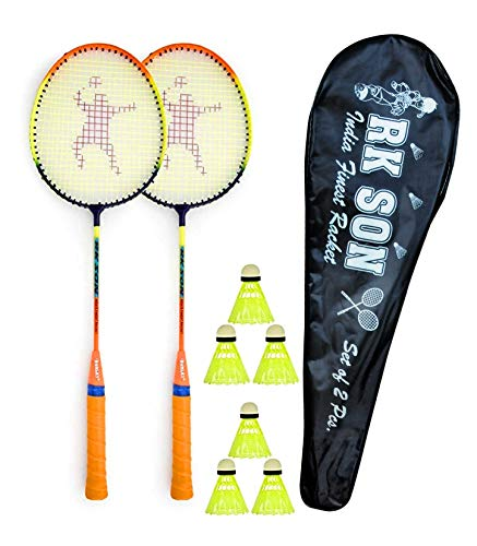 RK SON Fluorescent Badminton Rackets  Set of 2 Pcs  and 3 Nylon Shuttle and 1 Cover.