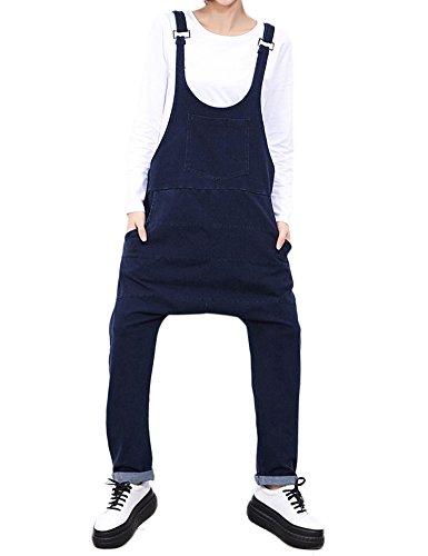 Overalls Denim Bleu Femmes Pants Loose Idopy Black Harem Utw80qE