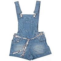 Dolcevida Girl's Cotton Denim Jumpsuit Adjustable Overall Shorts Shortalls
