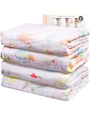 Viviland Baby Muslin Swaddle Blanket with Gift Box | 70% Bamboo 30% Cotton Receiving Blanket | 4 Packs, 47 X 47 inch