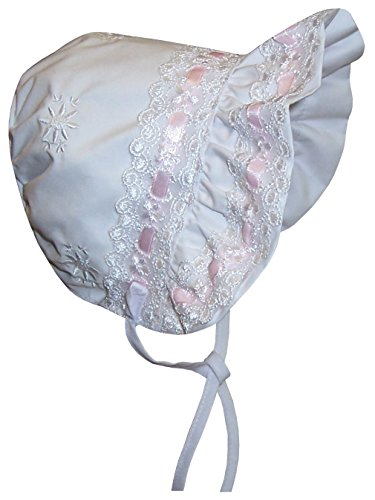 NIce Caps Baby Girls Lacy Bonnet With Flowers Embroidery (Infant Medium (6-12 months), white/pink)